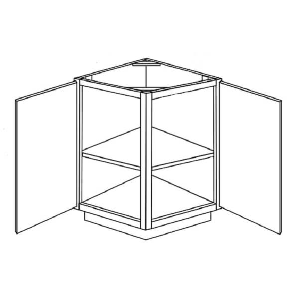 Aurora Base End Angle Cabinet 2 Glass Doors W21 H30