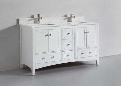 Leo 60 Inch White Quartz Vanity